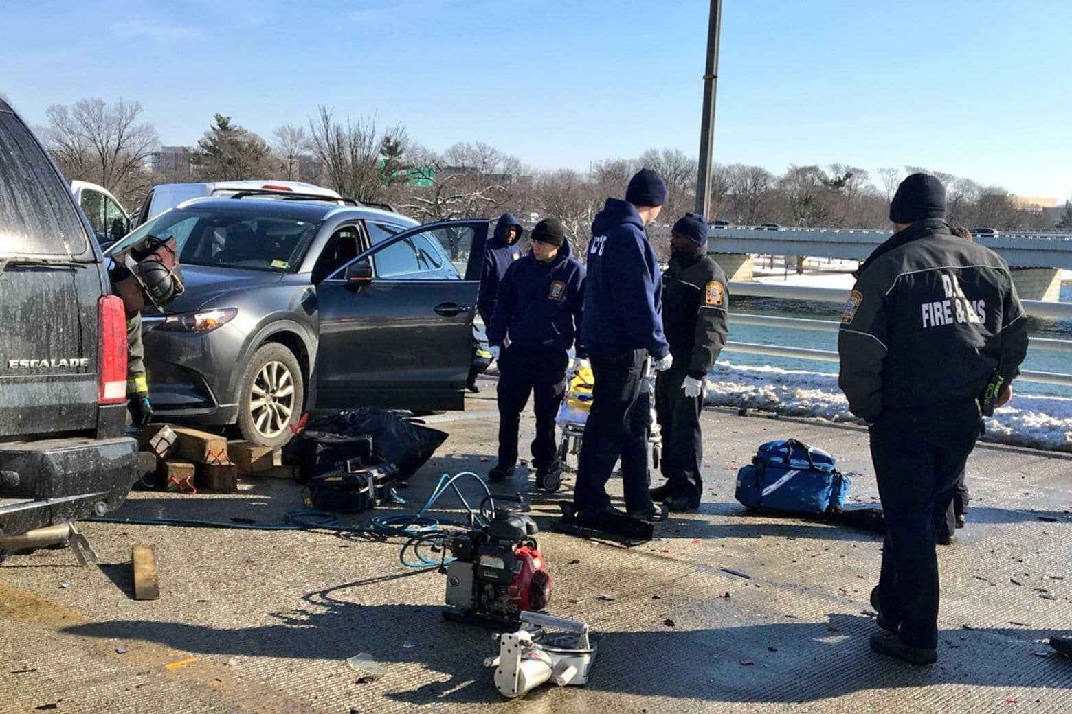 Authorities on the scene of a crash on the 14th Street Bridge on Tuesday. (Courtesy D.C. Fire and EMS)
