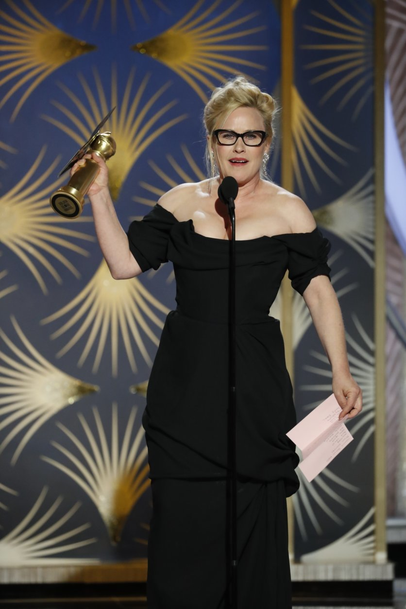 This image released by NBC shows Patricia Arquette accepting the award for best actress in a limited series or motion picture made for TV during the 76th Annual Golden Globe Awards at the Beverly Hilton Hotel on Sunday, Jan. 6, 2019 in Beverly Hills, Calif. (Paul Drinkwater/NBC via AP)