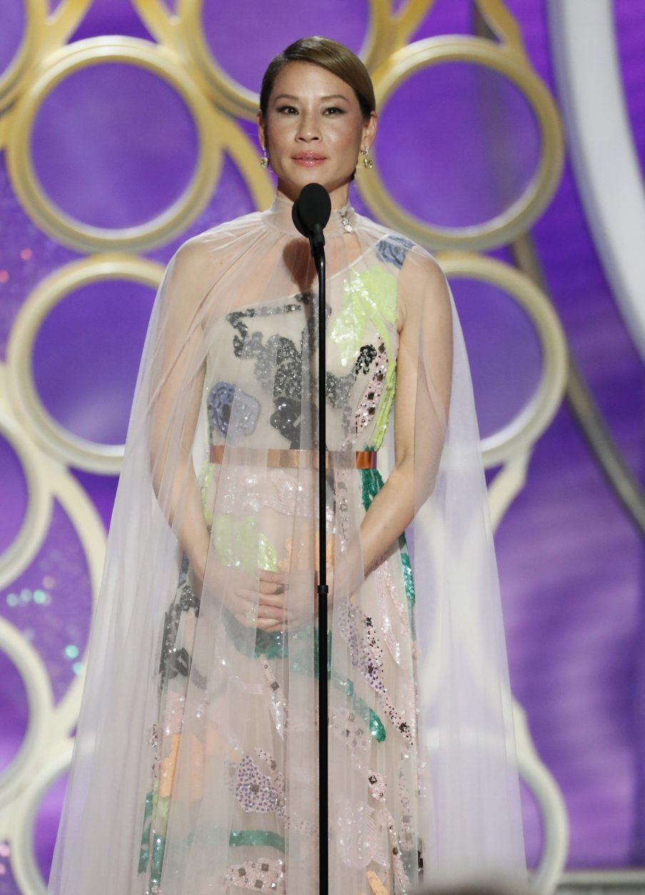 This image released by NBC shows presenter Lucy Liu during the 76th Annual Golden Globe Awards at the Beverly Hilton Hotel on Sunday, Jan. 6, 2019 in Beverly Hills, Calif. (Paul Drinkwater/NBC via AP)