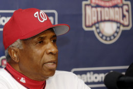 Washington Nationals manager Frank Robinson speaks at a news conference where the team announced that he will not return to manage in the 2007 baseball season, Saturday, Sept. 30, 2006, in Washington. (AP Photo/Nick Wass)