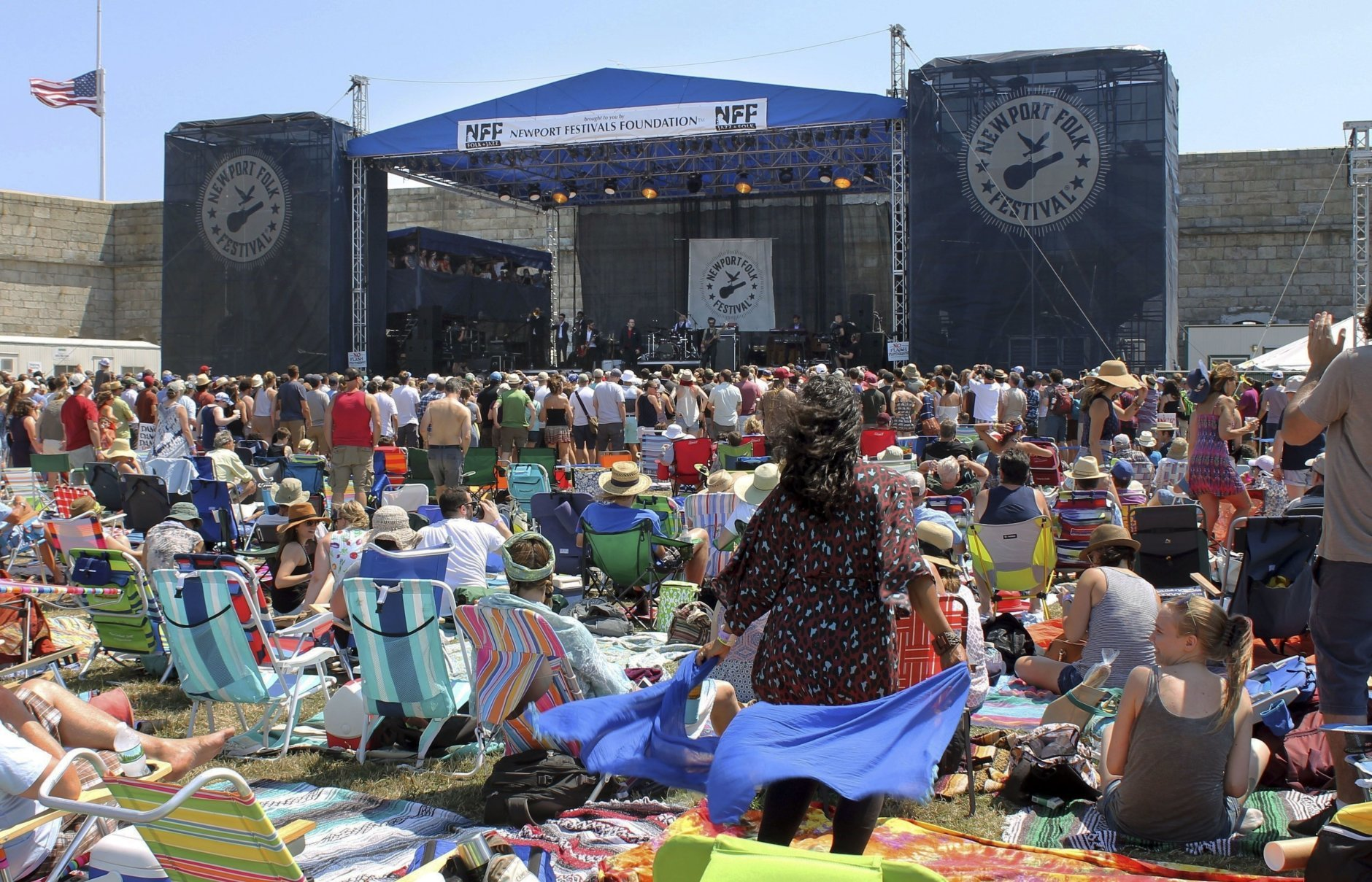 The audience dances to St. Paul and the Broken Bones at the Newport Folk Festival on Friday, July 22, 2016, in Newport, R.I., the first of three days of concerts at Fort Adams State Park. (AP Photo/Michelle R. Smith)