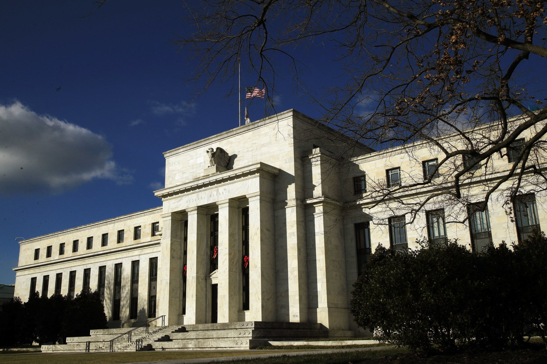 The Federal Reserve building is seen during a partial government shutdown in Washington, Monday, Dec. 24, 2018. President Donald Trump's attacks on the Federal Reserve spooked the stock market on Christmas Eve, and efforts by his Treasury secretary to calm investors' fears only seemed to make matters worse, contributing to another day of heavy losses on Wall Street. (AP Photo/Manuel Balce Ceneta)
