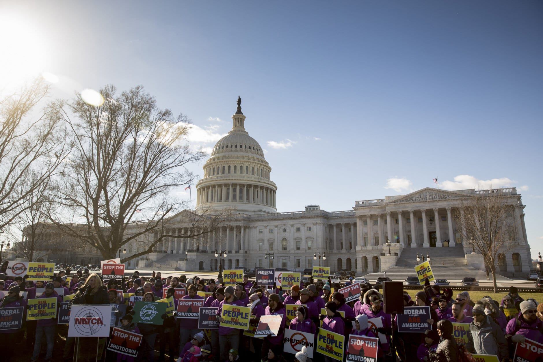 Union members protest the government shutdown on Capitol Hill in Washington, Thursday, Jan. 10, 2019. (AP Photo/Andrew Harnik)