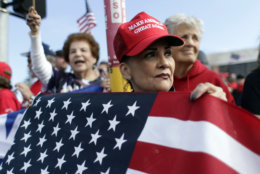 Supporters of President Donald Trump wait outside the McAllen International Airport for Trump's visit to the southern border, Thursday, Jan. 10, 2019, in McAllen, Texas. (AP Photo/Eric Gay)