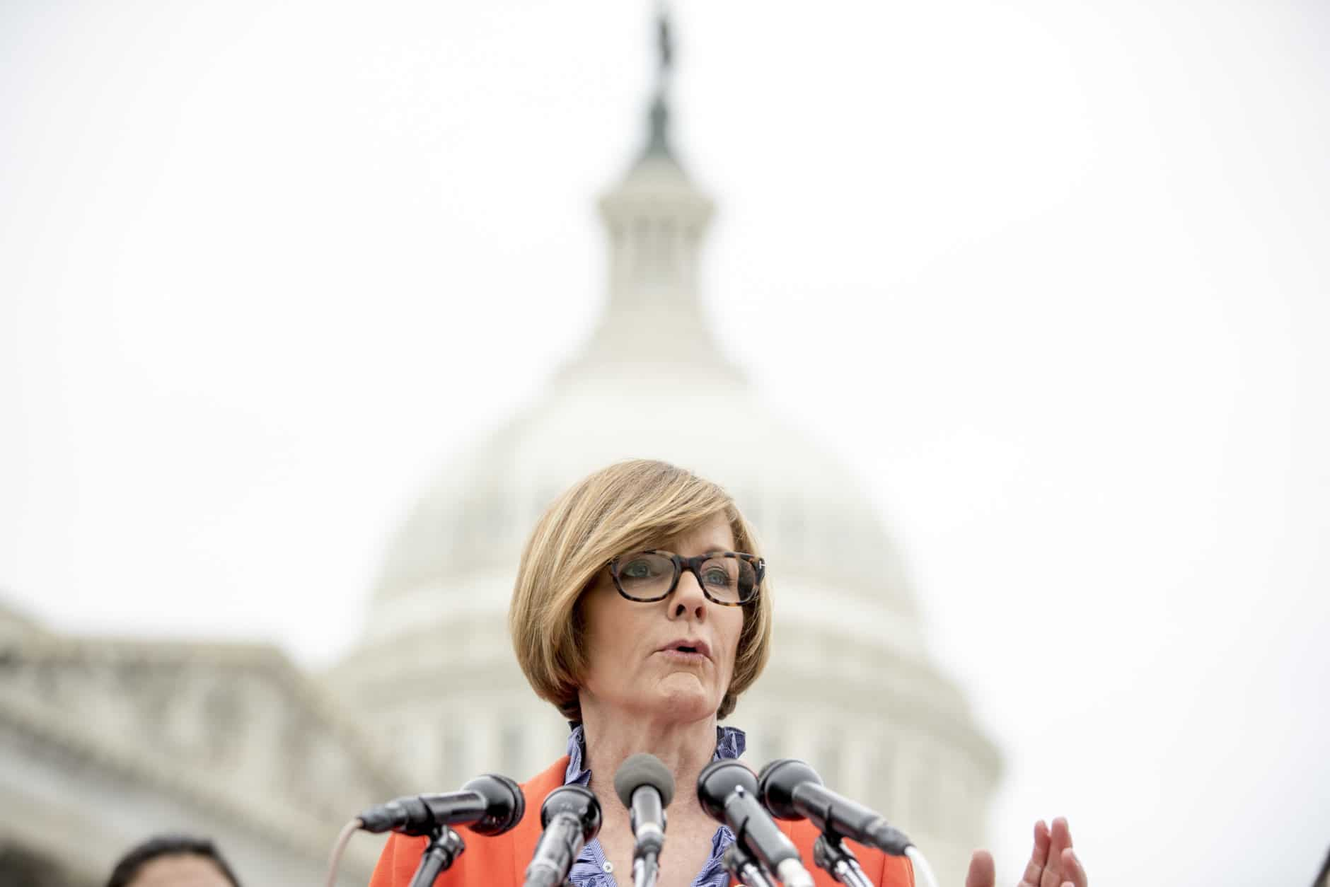 """Rep. Susie Lee, D-Nev., speaks at a news conference on Capitol Hill in Washington, Thursday, Jan. 17, 2019, to unveil the """"Immediate Financial Relief for Federal Employees Act"""" bill which would give zero interest loans for up to $6,000 to employees impacted by the government shutdown and any future shutdowns. (AP Photo/Andrew Harnik)"""