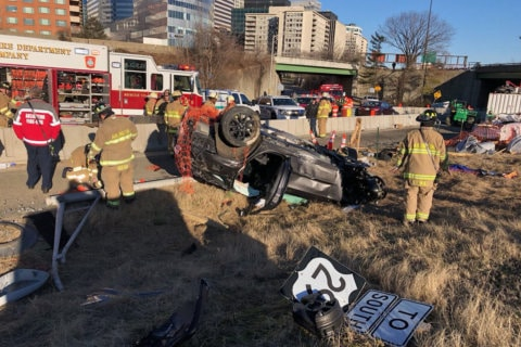 Driver goes off bridge on I-66 in Arlington