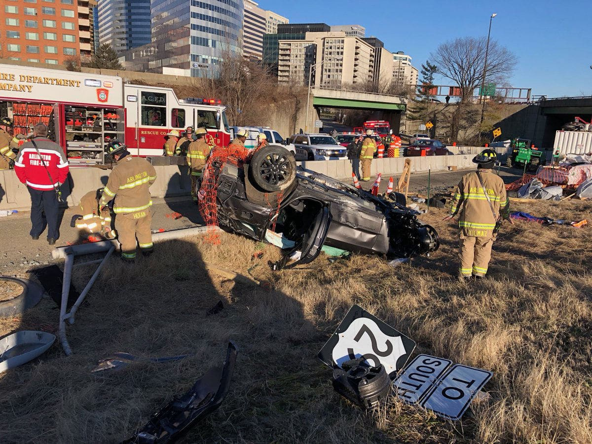 One person is in a hospital after their vehicle went over a bridge on Interstate 66 Monday morning. (Courtesy Arlington County Police Department)