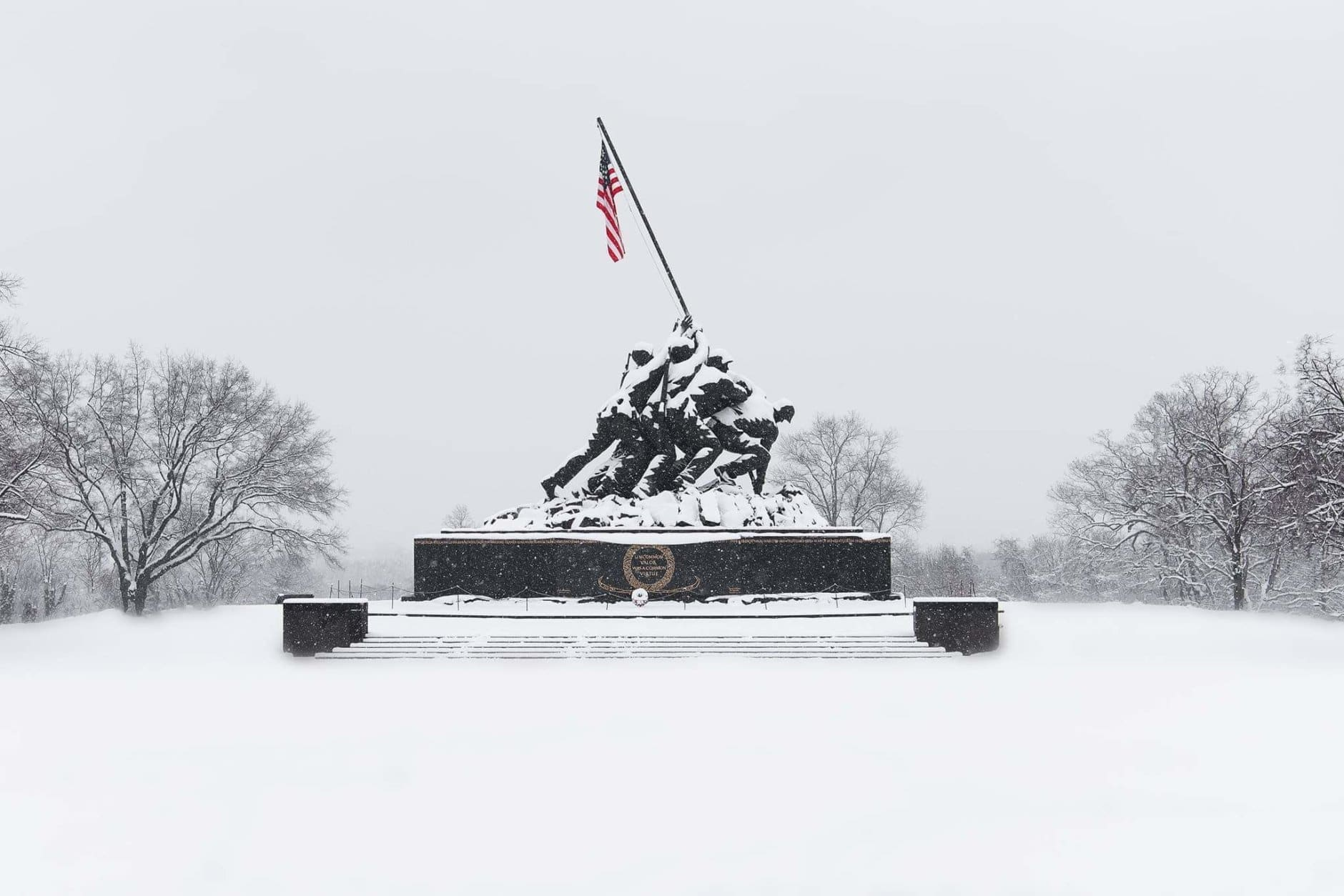 This WTOP listener wanted to share a stellar shot of the snow-covered U.S. Marine Corps War Memorial in Arlington, Virginia. (Courtesy Monica Rojas)
