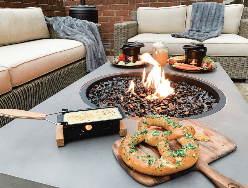 On the menu is Bavarian pretzel with melted raclette, chocolate fondue with fresh fruit, cheese fondue with vegetables and toasted country bread and Short Rib Tartine with horseradish aioli and pickled onions. (Courtesy Blue Duck Tavern)
