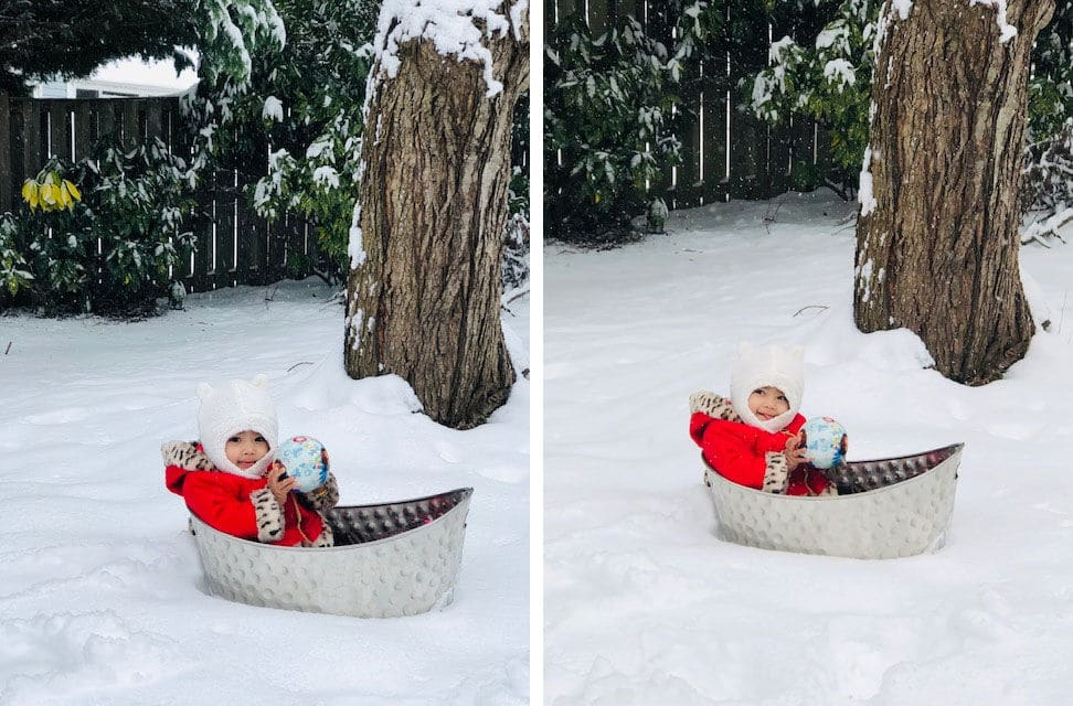 "This proud dad shared photos of baby Teah's ""first snow experience"" in Herndon, Virginia. (Courtesy Tinks Bhattarai)"
