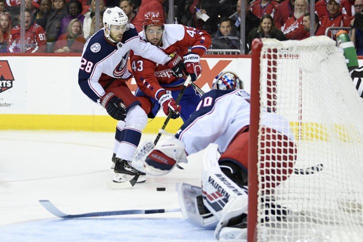 a5b9ea96788 Washington Capitals right wing Tom Wilson (43) battles for the puck against Columbus  Blue Jackets right wing Oliver Bjorkstrand (28)