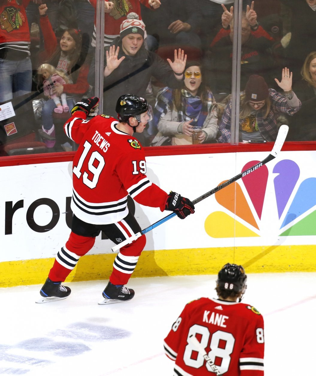 Chicago Blackhawks center Jonathan Toews (19) celebrates after his goal against the Washington Capitals during the third period of an NHL hockey game Sunday, Jan. 20, 2019, in Chicago. (AP Photo Nuccio DiNuzzo)
