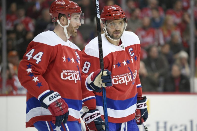 c16c9129c 18, 2019, file photo, Washington Capitals left wing Alex Ovechkin (8), of  Russia, talks with defenseman Brooks Orpik (44) during.