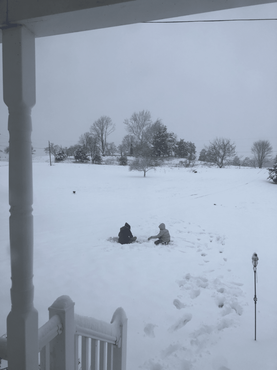 Kids play in the snow in Culpeper, Virginia, on Monday, Jan. 14, 2019. (Courtesy Jason Wells)