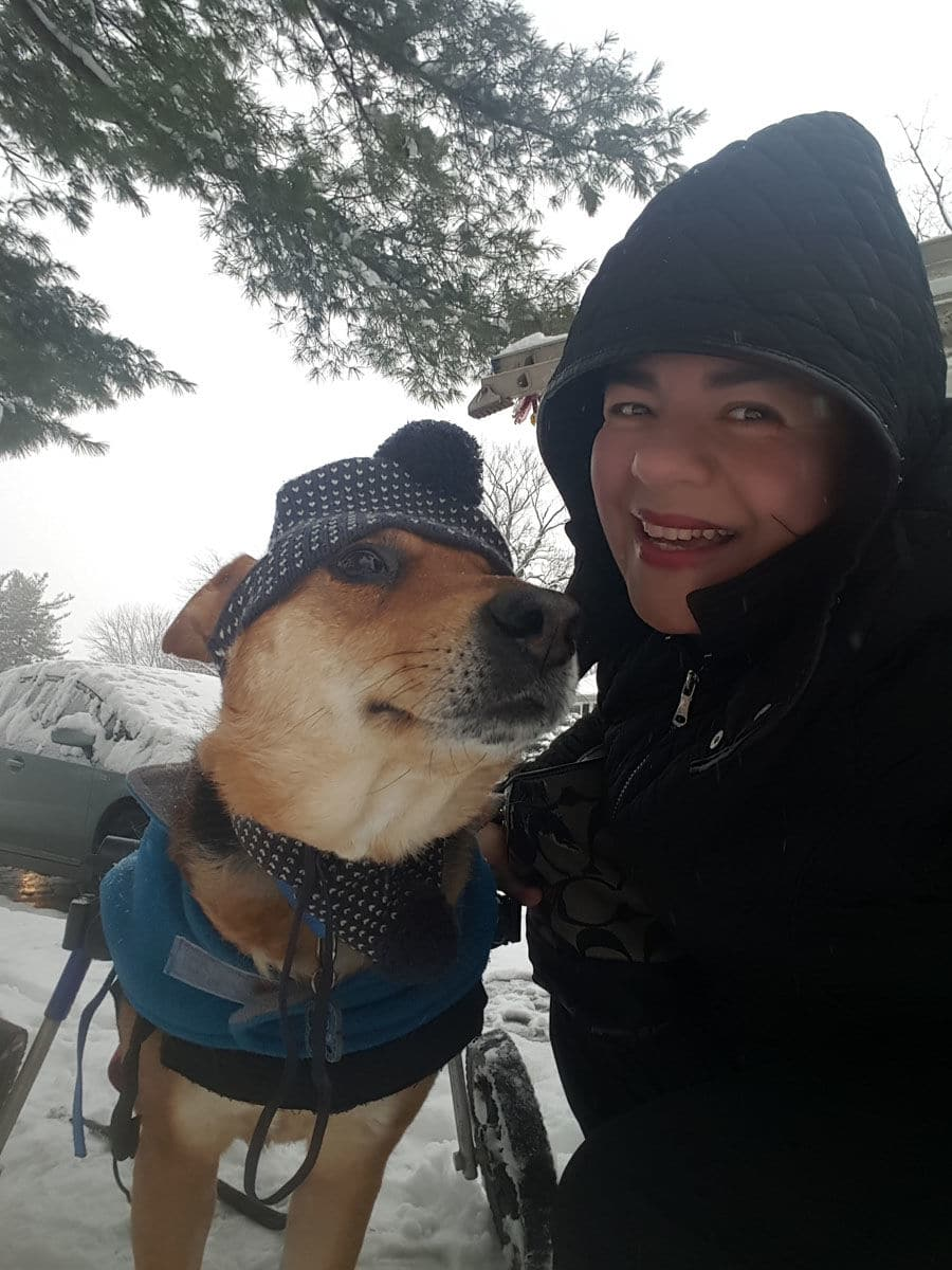 Bany shares this pic of her with Omid, a dog rescued from the Middle East. Omid has been with Bany for over six years. Here they are in the snow in Gaithersburg, Maryland. (Courtesy Bany Alavi)