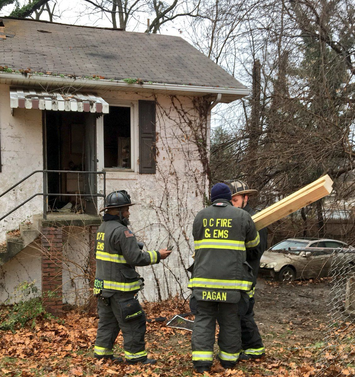 D.C. firefighters conduct shoring operations after the fire was put out. (Courtesy of DC Fire and EMS)
