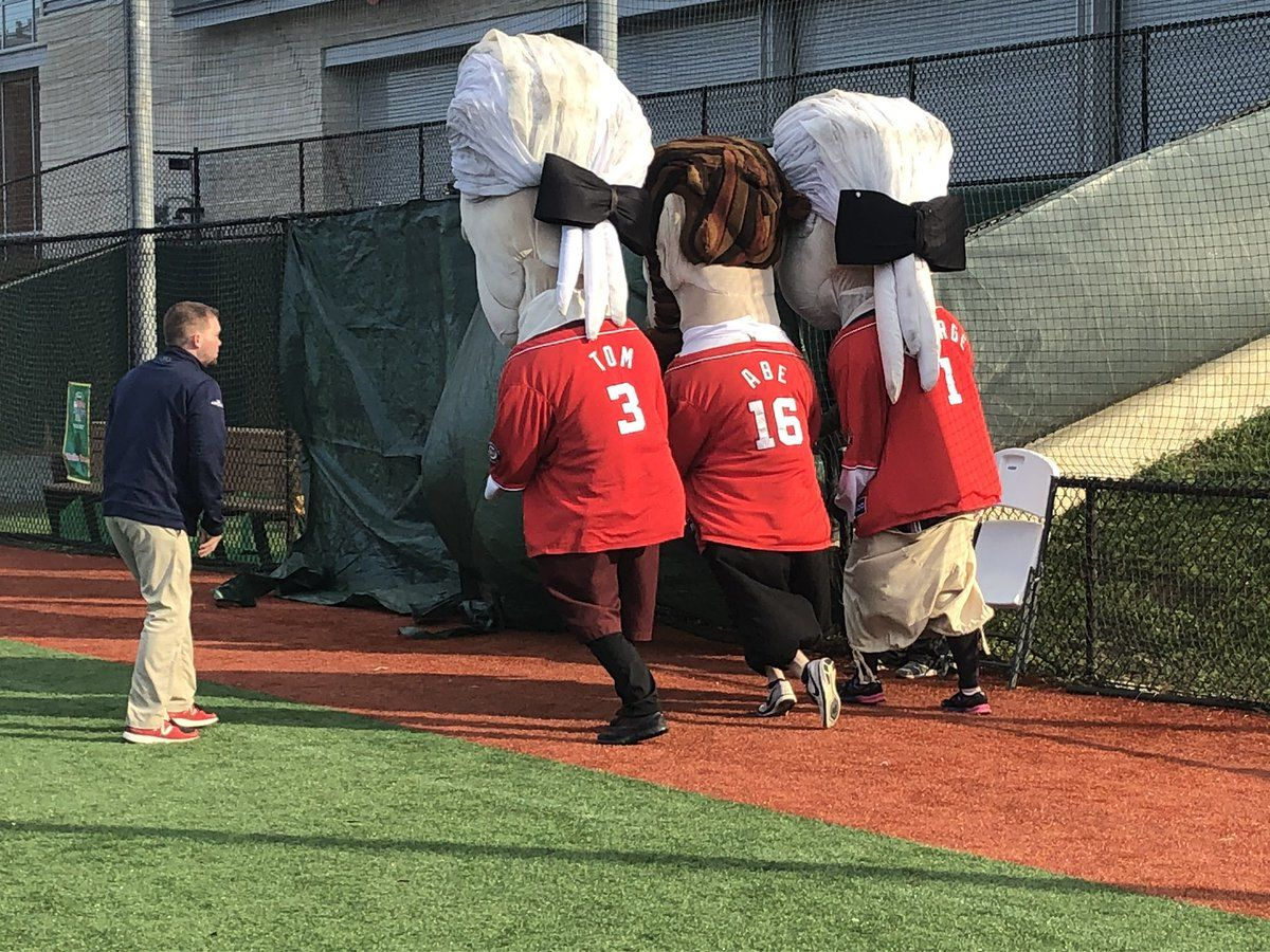 Presidential candidates have a shot at dressing as Tom, Abe, George or Teddy for the upcoming Nationals season. (WTOP/Melissa Howell)