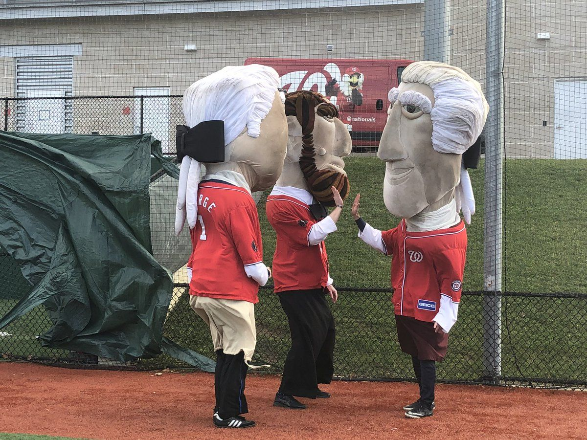 The Washington Nationals held the 13th annual Presidents Race auditions Sunday at the Washington Nationals Youth Baseball Academy in Southeast, D.C. (WTOP/Melissa Howell)