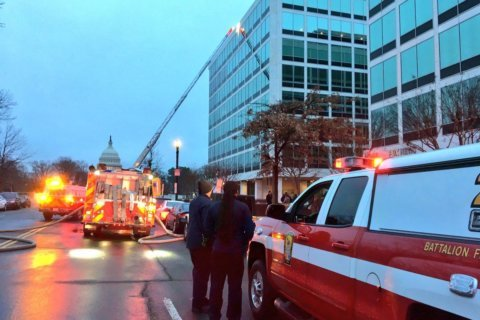 NW DC fire causes news networks to relocate temporarily, interrupts live broadcast