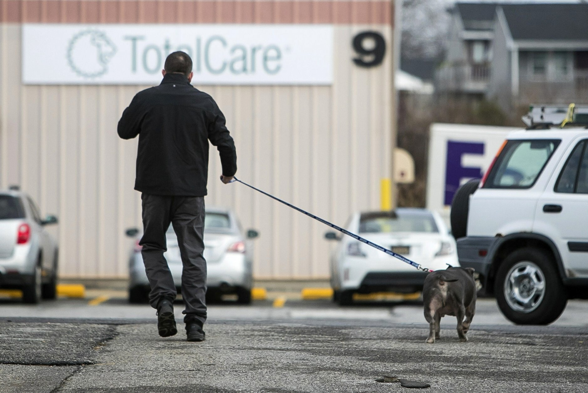 In this Jan. 8, 2019 photo, Pete Buchmann walks a new dog he is fostering named Mateo after his dog, Buster, died, in Elsmere, Del. Buchmann, who used to be homeless once walked 5 miles daily to visit Buster at Faithful Friends Animal Society, where he entrusted the dog to. (Suchat Pederson/The News Journal via AP)