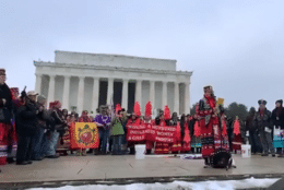Participants in Friday's Indigenous Peoples March gathered near the Lincoln Memorial. (Screengrab courtesy Lakota People's Law Project)