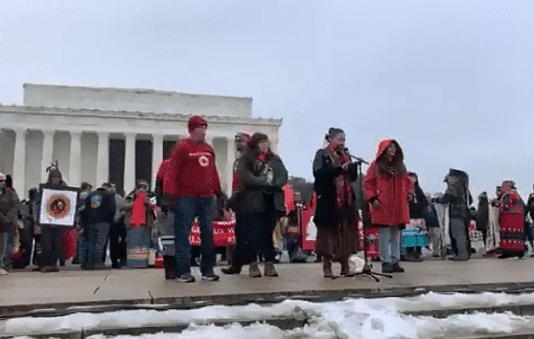 Indigenous Peoples March participants rallied at the Lincoln Memorial on Friday. (Courtesy Lakota People's Law Project)