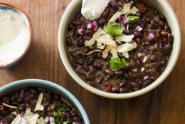 "This undated photo provided by America's Test Kitchen in January 2019 shows Black Bean Chili in Brookline, Mass. This recipe appears in the cookbook ""Multicooker Perfection."" (Carl Tremblay/America's Test Kitchen via AP)"