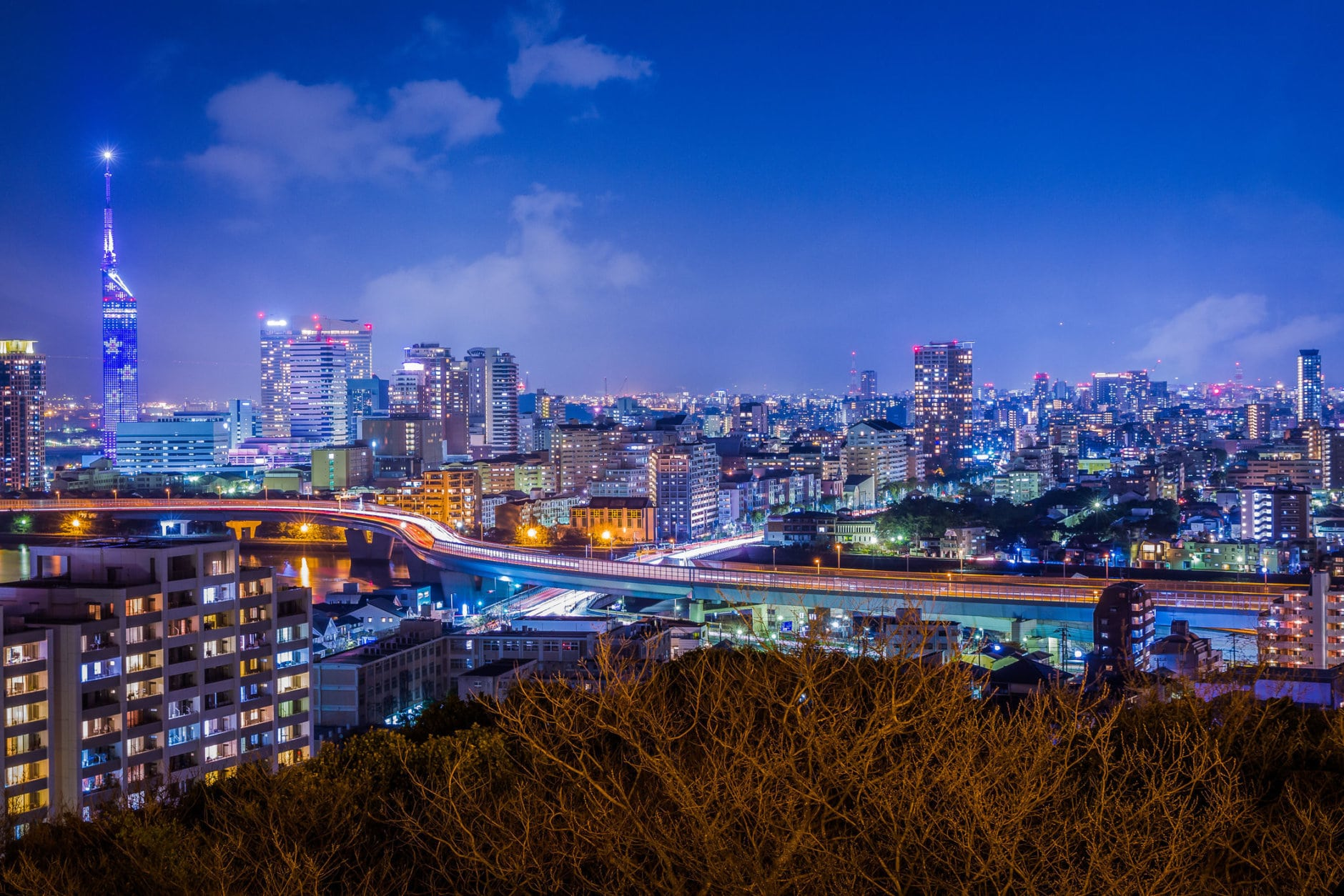 Night view of Fukuoka City in early spring featuring Fukuoka Tower, Momochi, Ohori Park, the Muromi River and the urban expressway. (Getty Images/iStockphoto/Biscut)