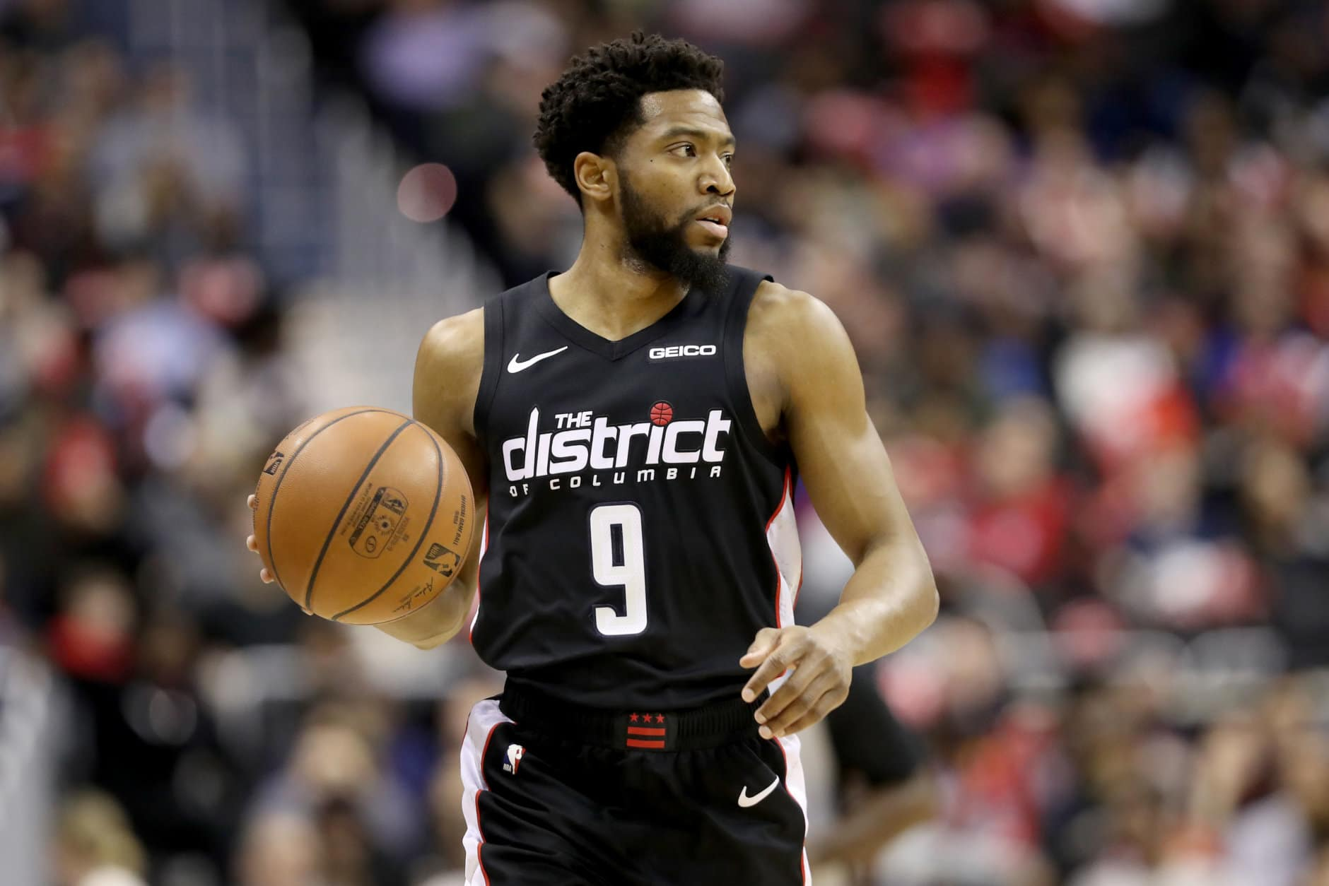 WASHINGTON, DC - JANUARY 21: Chasson Randle #9 of the Washington Wizards dribbles the ball against the Detroit Pistons at Capital One Arena on January 21, 2019 in Washington, DC. NOTE TO USER: User expressly acknowledges and agrees that, by downloading and or using this photograph, User is consenting to the terms and conditions of the Getty Images License Agreement. (Photo by Rob Carr/Getty Images)