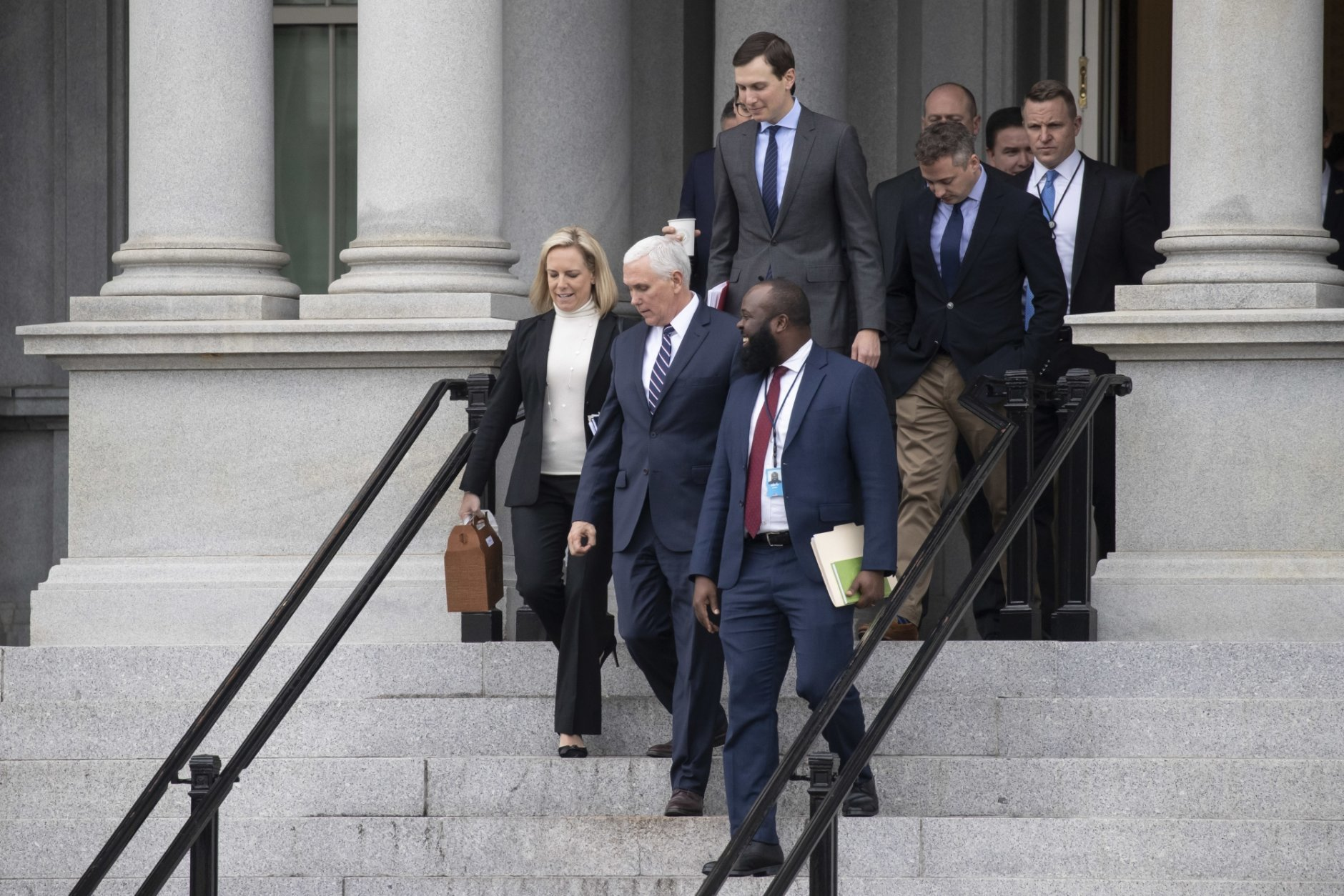 Kirstjen Nielsen, Mike Pence, Jared Kushner, Ja'Ron Smith