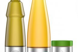 This photo shows Lesieur's stainless steel vegetable oils and mayonnaise containers designed for use with Loop. The new shopping platform announced at the World Economic Forum aims to change the way people buy many products, from food to personal-care and home products. Loop would do away with disposable containers for some name-brand products, including some shampoos and laundry detergents. Instead, those products would be delivered in sleek, reusable containers that will be picked up at your door, washed and refilled. (Team Créatif/Lesieur/TerraCycle via AP)