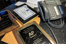 For the staffers who helped  earn these awards, it's nice to have an opportunity to take one home. (WTOP/Jack Pointer)