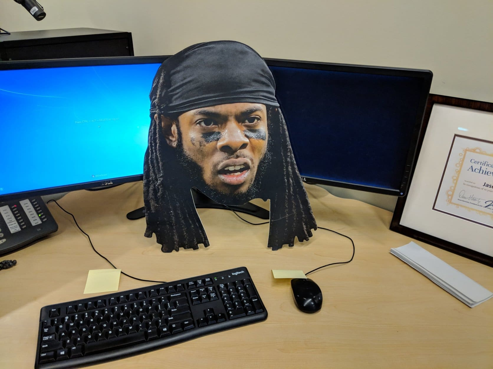 How can one resist a cutout of outspoken 49ers DB Richard Sherman? (WTOP/Jack Pointer)