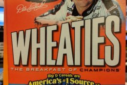 Check it out: A box of Wheaties featuring the late NASCAR legend Dale Earnhardt.  (WTOP/Jack Pointer)