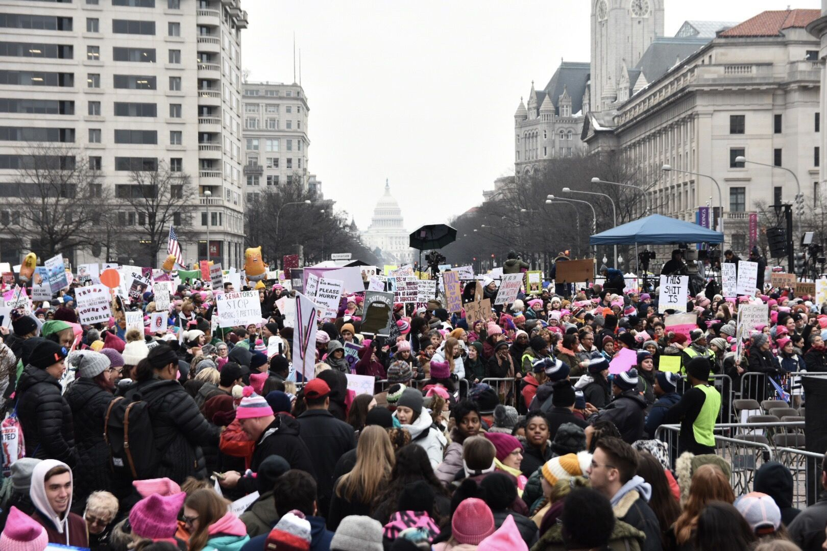 Turnout for the third Women's March was — despite a deepening controversy — on par with the 2018 installment of the now annual march, during which about 10,000 gathered at the foot of the Lincoln Memorial. Women's March 2019 featured a short walk down Pennsylvania Avenue and a loop back to Freedom Plaza down E Street before a rally. (WTOP/Alejandro Alvarez)