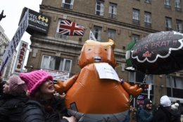 """A protester holds a balloon featuring an orange baby with the likeness of Trump. The so-called """"Trump baby blimp"""" was quickly embraced by left-wing American activists after a giant blimp took flight over London during Trump's visit there last summer. (WTOP/Alejandro Alvarez)"""