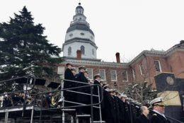 The U.S. Naval Academy Glee Club gets set to perform at the inauguration of Gov. Larry Hogan. (WTOP/Kate Ryan)