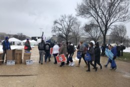 Activists braved the elements Friday for the annual March for Life. (WTOP/Max Smith)
