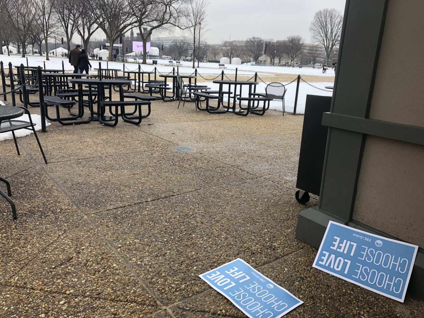 The stage was set early Friday for the annual March for Life. (WTOP/Max Smith)