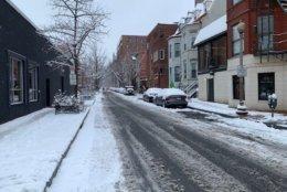 Church Street in Northwest D.C. covered in snow. (WTOP/Lisa Wiener)