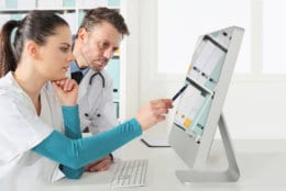 Doctors use the computer, concept of medical consulting