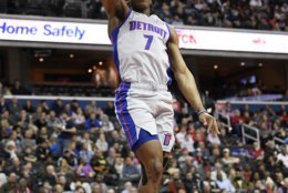 Detroit Pistons forward Stanley Johnson (7) dunks during the first half of an NBA basketball game against the Washington Wizards, Monday, Jan. 21, 2019, in Washington. (AP Photo/Nick Wass)