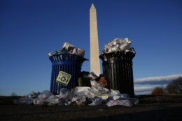 Trash begins to accumulate along the National Mall near the Washington Monument due to a partial shutdown of the federal government on December 24, 2018 in Washington, DC.
