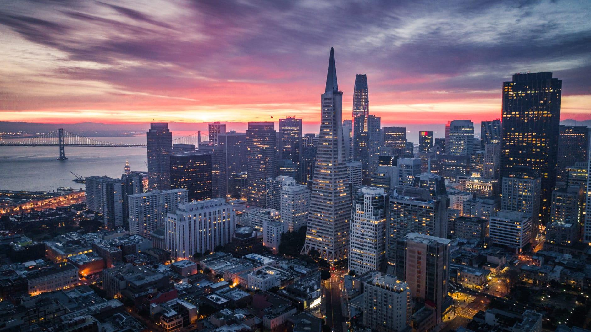 San Francisco Skyline with Dramatic Clouds at Sunrise, California, USA