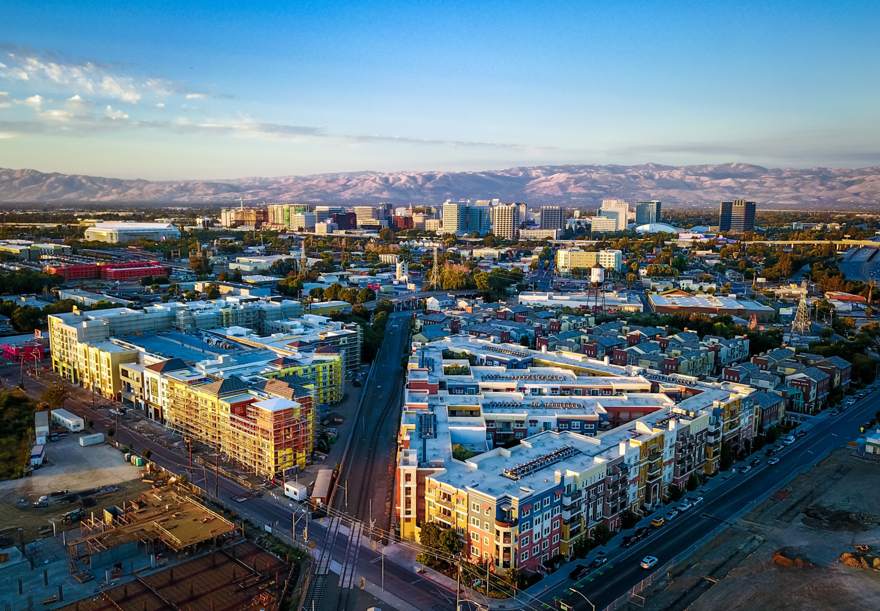 Drone photo of sunset over downtown San Jose in California