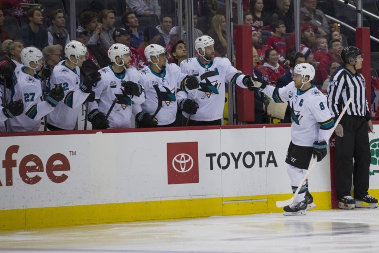 8babb268b3e San Jose Sharks center Joe Pavelski (8) celebrates his goal with his  teammates in the first period of an NHL hockey game Washington Capitals.