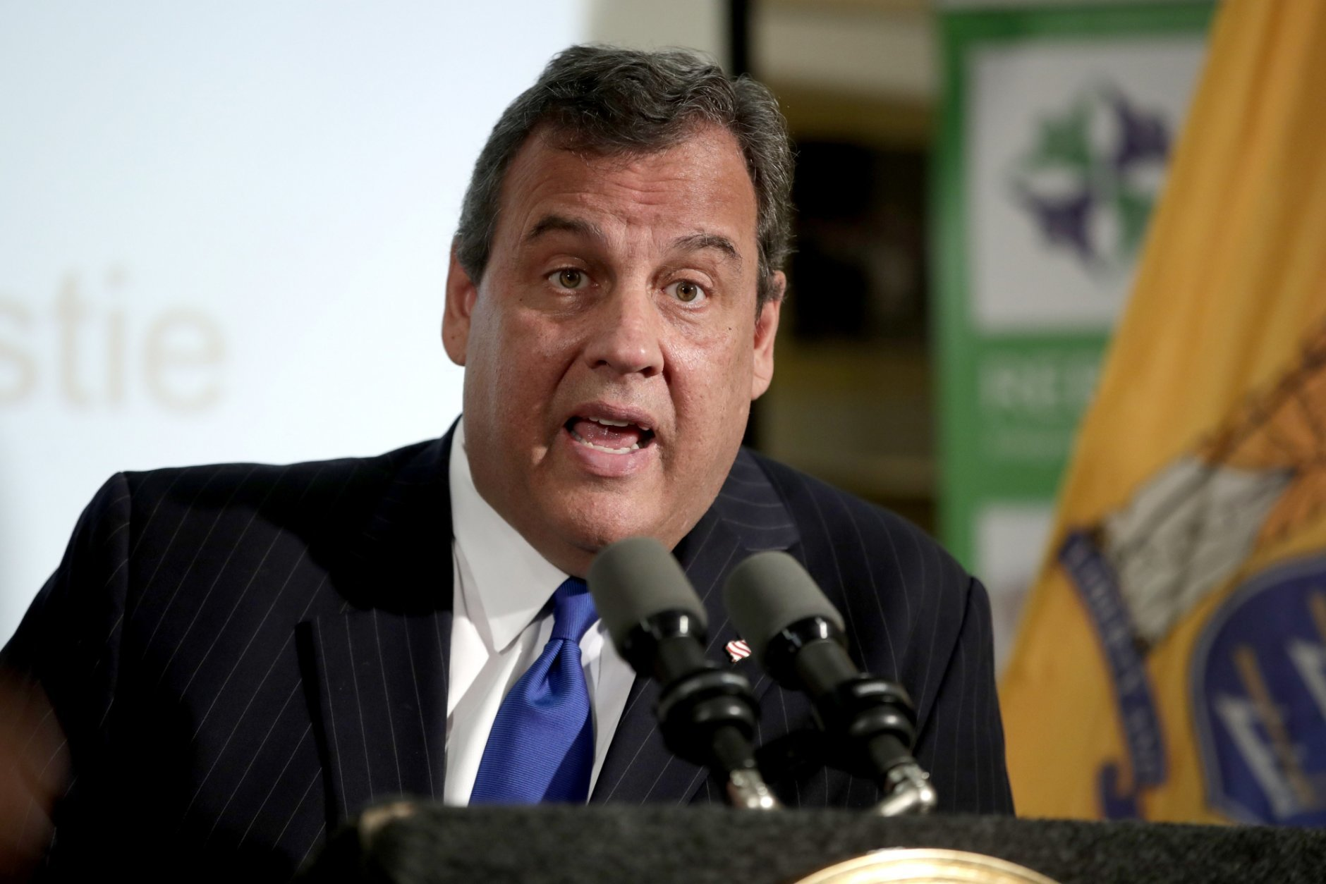 """FILE - In this Nov. 29, 2017, file photo, New Jersey Gov. Chris Christie speaks during a news conference in Newark, N.J. Former New Jersey Gov. Christie wants lawmakers across the country to resist a bill that would give the federal government control over regulating sports betting. The Republican says states have proven they can handle the job. Speaking Friday, Jan. 4, 2019, in New Orleans, Christie also urged them to resist granting the leagues """"integrity fees,"""" which are essentially a slice of the action on sports bets, and to refuse demands to use official league data in sports betting. (AP Photo/Julio Cortez, File)"""