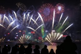 In this Tuesday, Jan. 1, 2019, file photo, fireworks explode over the Victoria Harbor during New Year's Eve to celebrate the start of year 2019 in Hong Kong. (AP Photo/Kin Cheung, File)