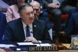 U.S. Secretary of State Mike Pompeo speaks at the United Nations Security Council at the U.N Headquarters on Saturday, Jan. 26, 2019.  Pompeo encouraged the council to recognize Juan Guaido as the constitutional interim President of Venezuela. (AP Photo/Kevin Hagen).