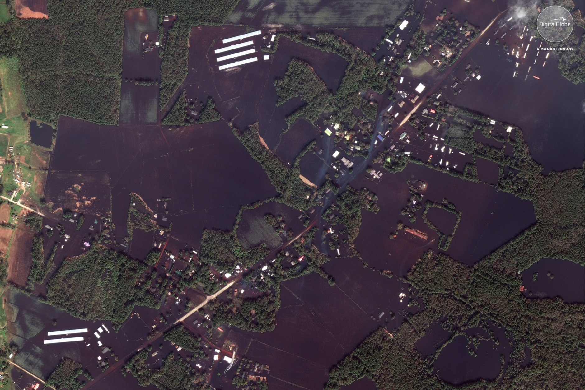 This Sept 20, 2018 satellite image provided by DigitalGlobe shows roads, farms and homes flooded from Hurricane Florence, northeast of Wallace, N.C. (DigitalGlobe, a Maxar company via AP)